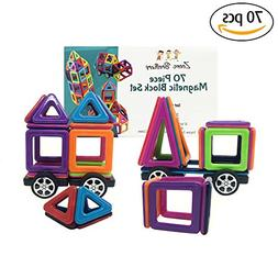 Mini Magnetic Blocks 70 Piece Set - Travel Toys for Toddlers