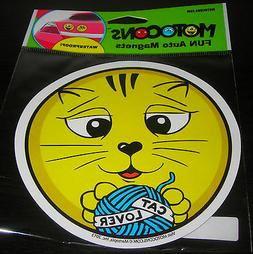 "MOTOCONS EMOJI SMILEY FACE AUTO CAR MAGNET CAT LOVER 5"" REFR"