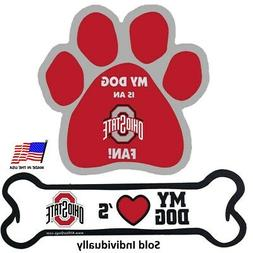 All Star Dogs NCAA Ohio State Buckeyes Paw Print Car Magnet