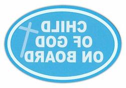 Oval Car Magnet - Child of God on Board - Baby Blue w/Cross