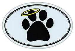 Oval Car Magnet - Dog Paw Print w/Angel Halo - Memorial - Bu