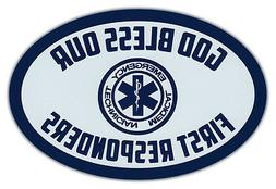 Oval Car Magnet - God Bless Our First Responders - EMTs - Bu
