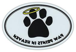 Oval Car Magnet - Paw Prints In Heaven - Dog/Pet Memorial -