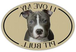 Oval Dog Breed Picture Car Magnet - I Love My Pit Bull  - St