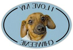 Oval Dog Breed Picture Car Magnet - I Love My Chiweenie - Bu
