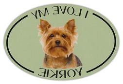 Oval Dog Breed Picture Car Magnet - I Love My Yorkie