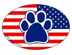 "Oval Dog/Cat/Pet Car Magnet  ""American Flag Paw Print""  Made"