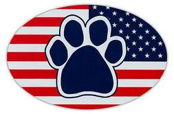 Oval Shaped Car Magnet - Dog Paw United States Flag - USA -