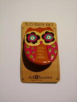 "Natural Life owl ""Drive safe,chat later"" car visor Clip"