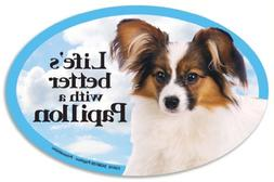 Papillon Oval Dog Magnet for Cars