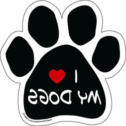 Imagine This Paw Car Magnet, I Love My Dogs, 5-1/2-Inch by 5