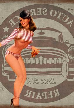Pinup Girl Fridge Toolbox Magnet  Auto Service Bikini Car Vi