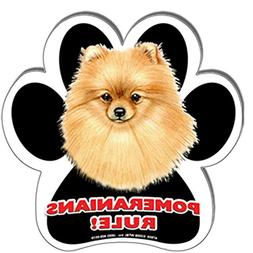"Pomeranians Rule! 5"" Paw Print Shaped Dog Magnet with Bonus"