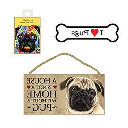 Pug Dog Lover Gift Bundle - Decorative Wall Sign A House is