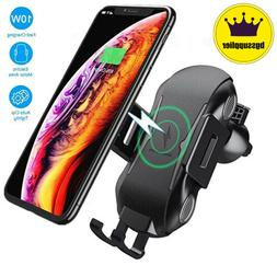 Qi Auto Wireless Car Charger Mount Clamping Air Vent Phone H