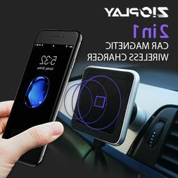 Qi Wireless Car Charger Magnetic Mount Holder Fast Charging