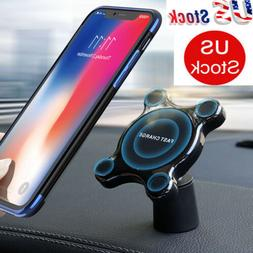 Qi Wireless Car Charger Magnetic Mount Holder For iPhone 11