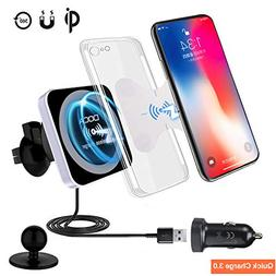 QI Wireless Car Charger With QC3.0 USB Charger, DOCA Magneti