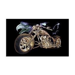 Rectangle Car Magnet Large Eagle Lightning and Motorcycle
