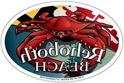 Rehoboth Beach Red Crab Oval Magnet, 6 x 4 inches - Euro Car