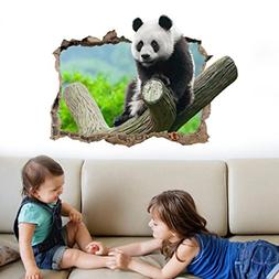 Rumas Removable DIY 3D Panda Wall Stickers Murals Peel Stick