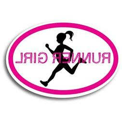 "Runner Girl Pink Oval Car Magnet 4x6"" Decal Heavy Duty Water"