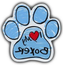 Scribble Paw Dog Magnets: I LOVE MY BOXER | Cars, Trucks, Re