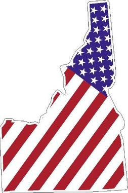 """8"""" STATE OF IDAHO shaped american flag united states magnet"""
