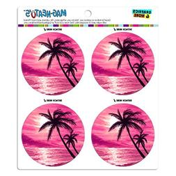 Graphics and More Sunset Beach Palm Tree Hawaii Paradise Pin