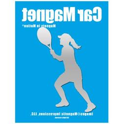 Tennis Player Women's Car Magnet Chrome
