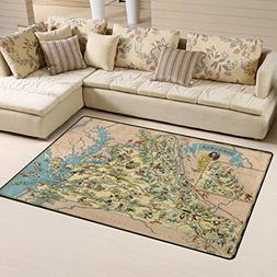 Vintage 1935 Virginia State Map Playmat Floor Mat For Dining