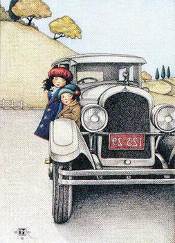 Vintage Auto Little Girls Car Trip-Handcrafted Magnet-w/Mary