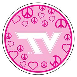Virginia Tech Magnet PINK CIR PEACE,HEART VT MAG 5""