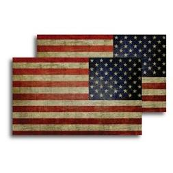 :Weathered American Flag Car Magnet Decal, 2 pack - 3 x 5 -