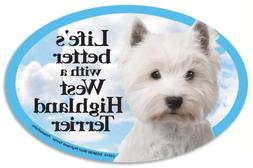 West Highland Terrier  Oval Dog Magnet for Cars . Includes b