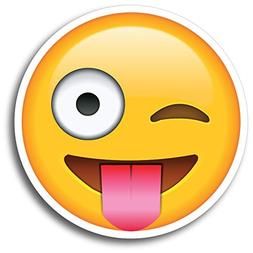 Wink Tongue Out Emoji Magnet Decal Perfect for Car or Truck