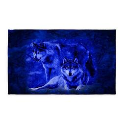 CafePress Winter Wolves 3'X5' Decorative Area Rug, Fabric Th