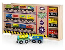 kidzzy toys 12 Pcs wooden railway trains set works with all